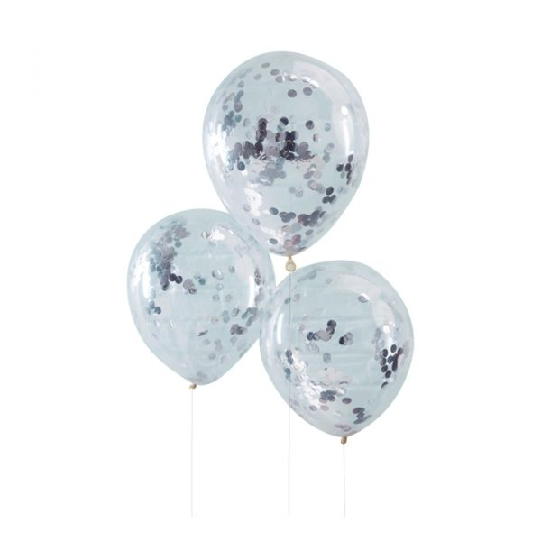 Ginger Ray Silver Confetti Balloons 5 Pack 30cm