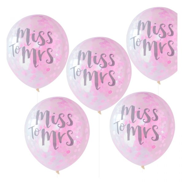 Ginger Ray Miss to Mrs Printed Confetti Balloons 5 Pack 30cm