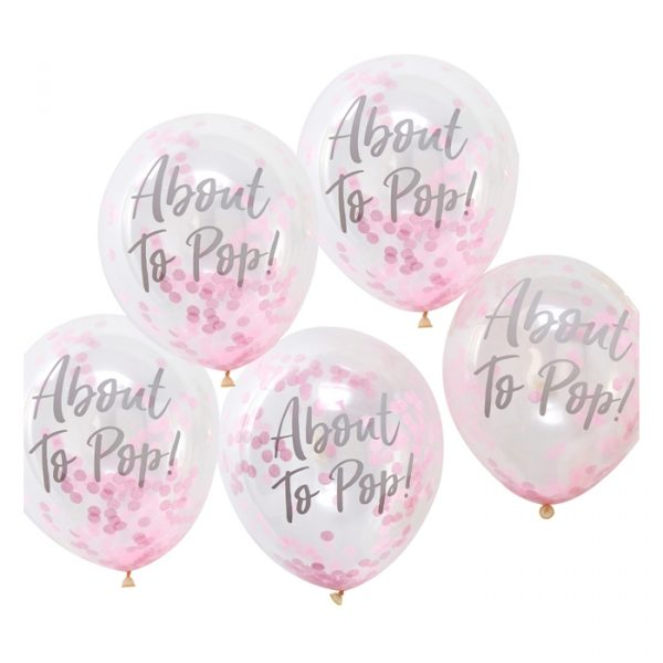 Ginger Ray Printed Pink Confetti Balloons 5 Packs 30cm
