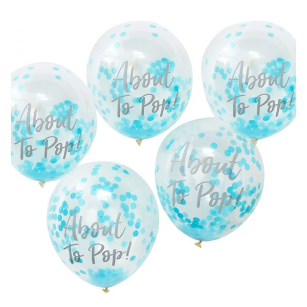 Ginger Ray Printed Blue Confetti Balloons 5 Packs 30cm