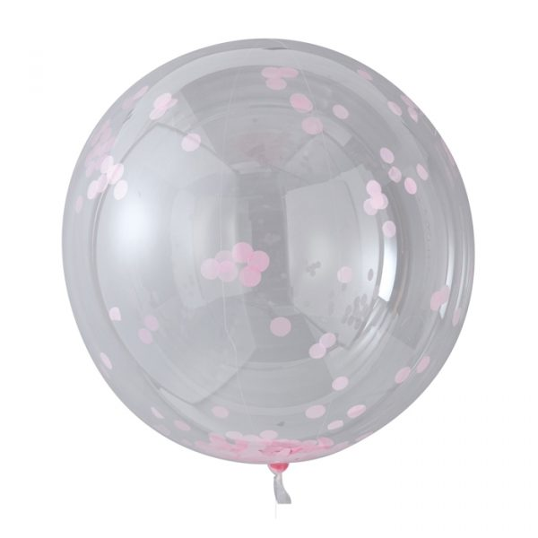 Ginger Ray Pink Confetti Orb Balloons 3 Pack 90cm