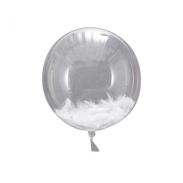 Ginger Ray White Feather Filled Orb Balloons 3 Pack 45cm