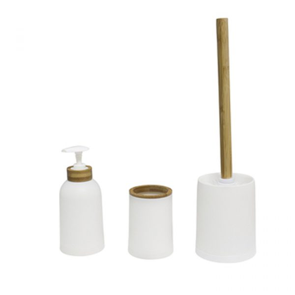 Balvi Bathroom Set of 3 Zen Bamboo White