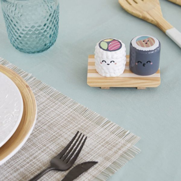 Balvi Salt & Pepper Set Mr. Wonderful Sushi Ceramic White & Grey