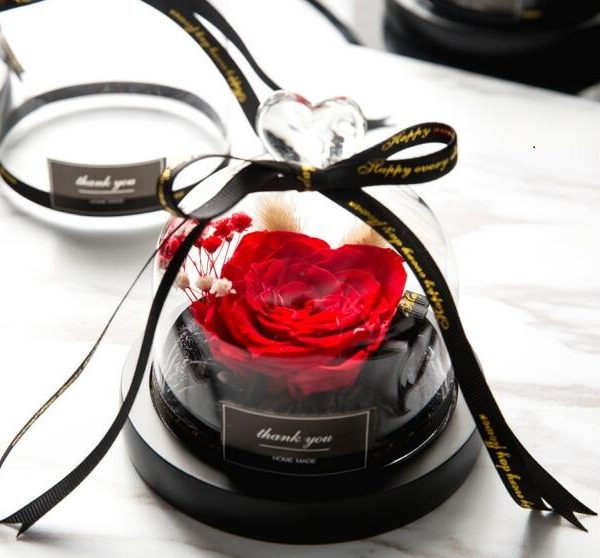 Beauty and The Beast Preserved Eternal Real Red Rose in Glass Dome with Lights