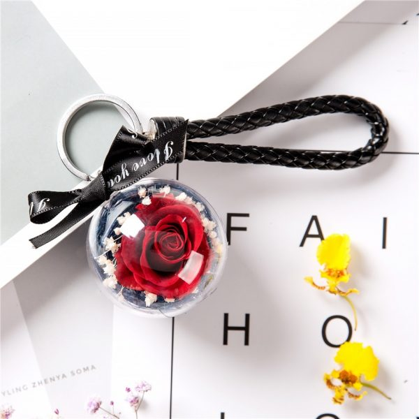 Make a Wish Natural Dried Eternal Red Rose Pendant Keyring with Black Leather Chain