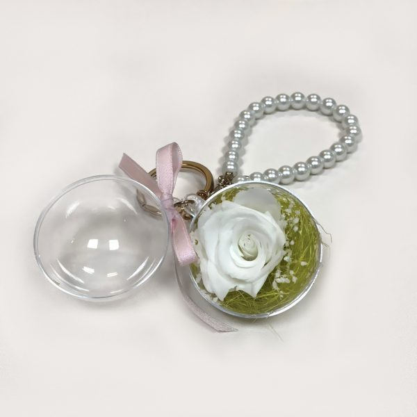 Make a Wish Natural Dried Eternal White Rose Pendant Keyring with White Pearls Chain