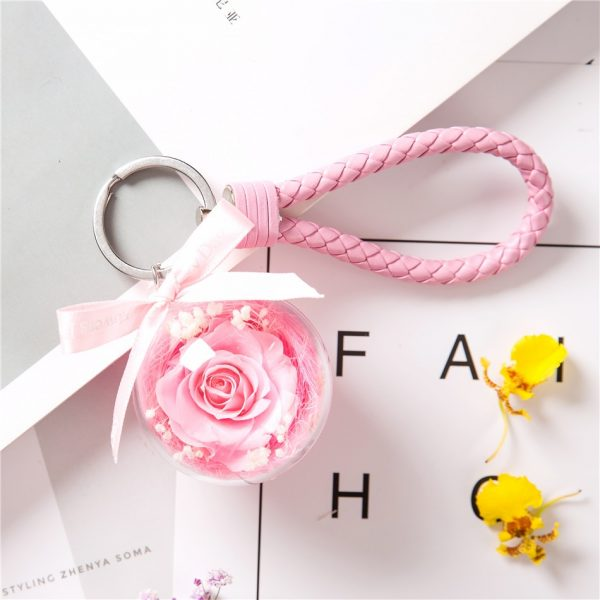 Make a Wish Natural Dried Eternal Pink Rose Pendant Keyring with Pink Leather Chain