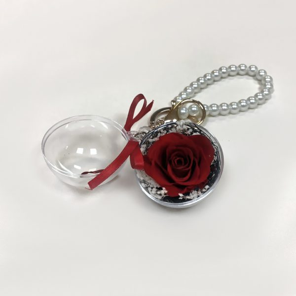 Make a Wish Natural Dried Eternal Red Rose Pendant Keyring with White Pearls Chain