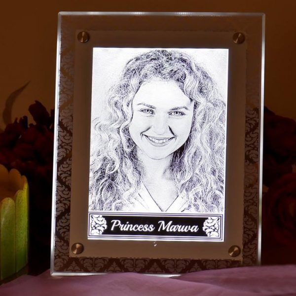 Lazer Gallery Personalized Acrylic Engraved Photo Frame With Led Light