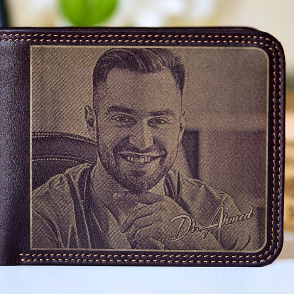 Lazer Gallery Personalized Natural Leather Mens Wallet Brown