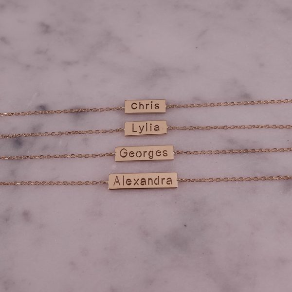Personalized Bar Bracelet Engraved with Your Special Name in 18 Karat Gold - Long Name