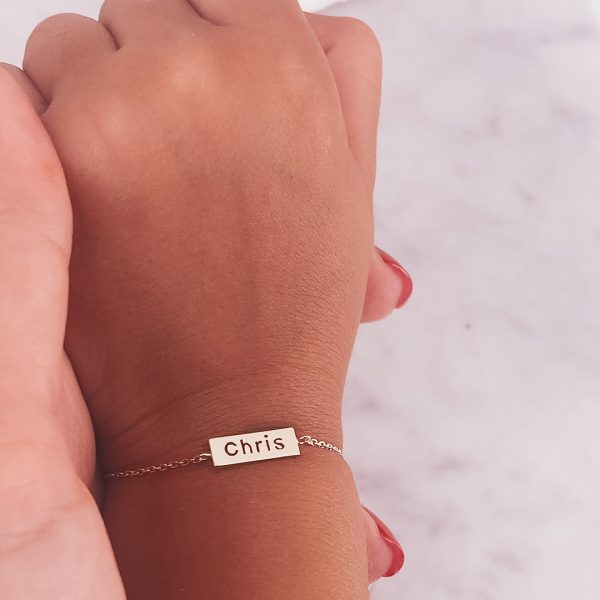 Personalized Bar Bracelet Engraved with Your Special Name in Pure Silver - Long Name