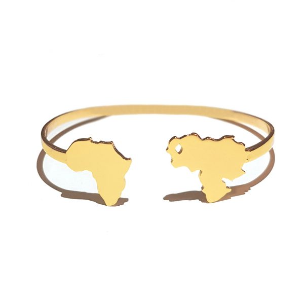 Joelle Signature Bracelet with Personalized Country Maps Gold Plated Adjustable