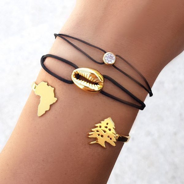 Joelle Signature Bracelet with Personalized Country/Cedar Gold Plated Adjustable