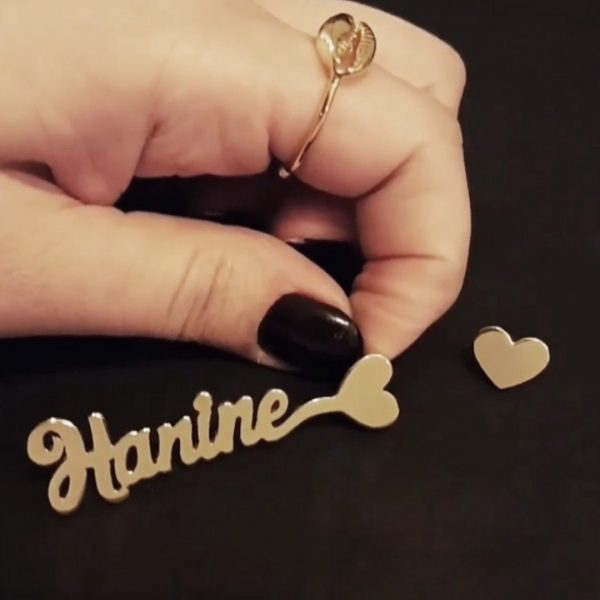 Joelle Signature Long Earrings with Personalized Name Gold Plated