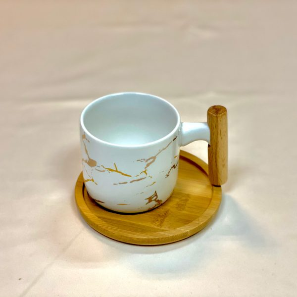 Sj Ceramic Cup With Rimped Gold Plated Bamboo Handle & Saucer White
