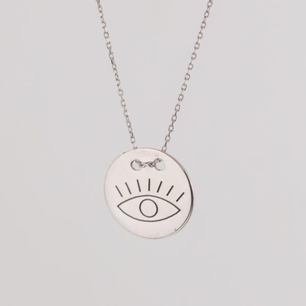 Andash Designs Good Eye Pendant Necklace in Silver with Gold Plated Finishing