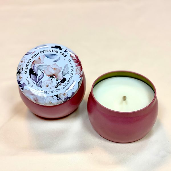 Peony Scented Tin Candle Litchi Hand Poured Blend Of Coconut & Soy Wax