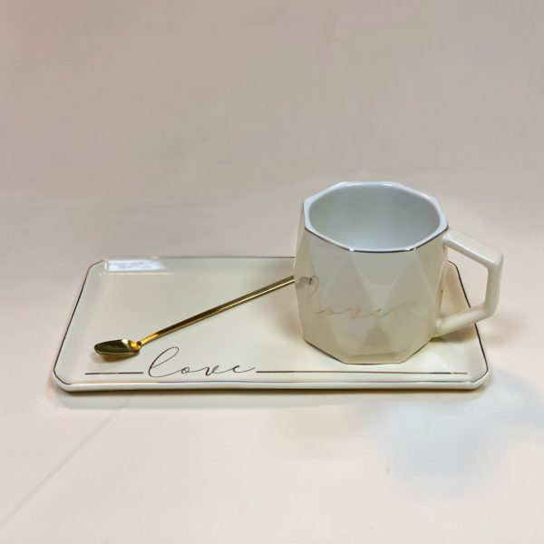 Life Simple White Ceramic Tea Cup Love Plated Gold Rimp With Gold Plated Spoon & Saucer