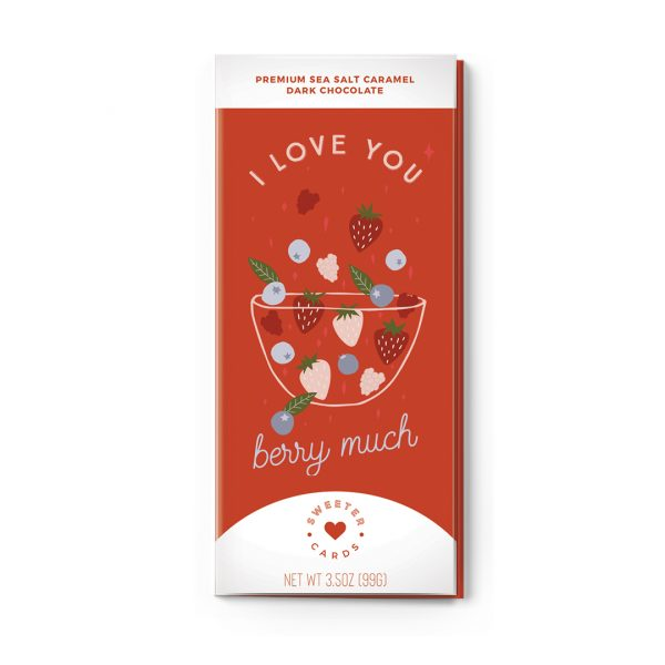 Sweet Cards Premium Sea Salt Caramel Dark Chocolate With Greeting Cards I Love You Berry Much