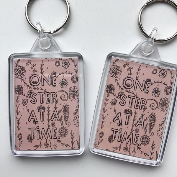 One Step At A Time Keyring