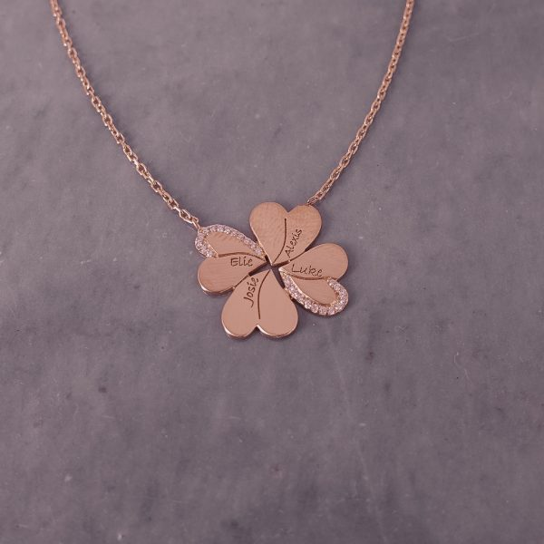 Personalized Encrusted Zircon Flower Necklace with Engraved Names in Gold Plated Silver