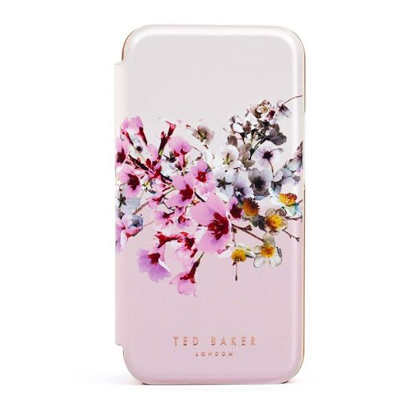 Ted Baker iPhone 12 / 12 Pro Mirror Folio Phone Case Jasmine Pink Rose Gold