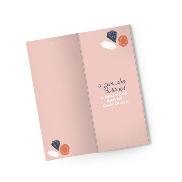 Sweet Cards Premium Sea Salt Caramel Dark Chocolate With Greeting Cards Thanks, You're A Gem