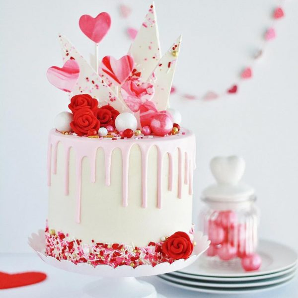 Valentine Fondant And Buttercream Cake Topped With Heart Crispy Popper And  Buttercream Flowers . 2Kg