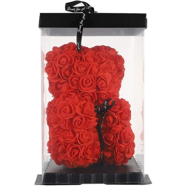 Teddy Bear Of Rose Artificial Flowers With Transparent Empty Gift Box