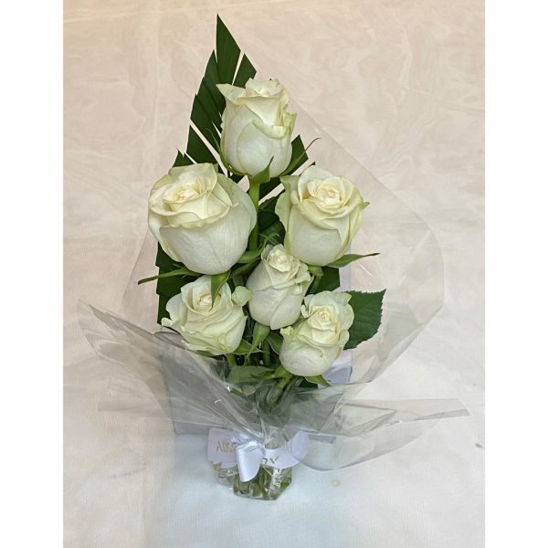 Fresh White Roses Bouquet 6