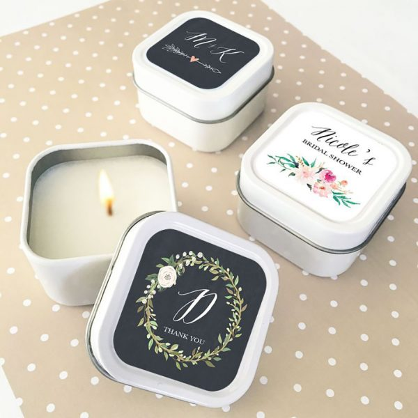 Event Blossom Floral Garden Square Candle Tins - Blush (qty 3)