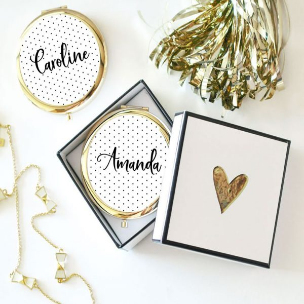 Event Blossom Personalized Polka Dot Compact Mirrors - Rose Gold