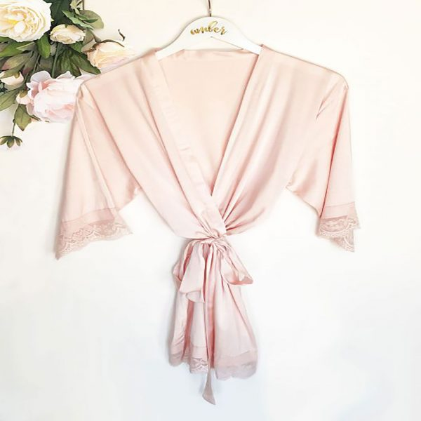 Event Blossom Personalized Satin Lace Robes - Blush