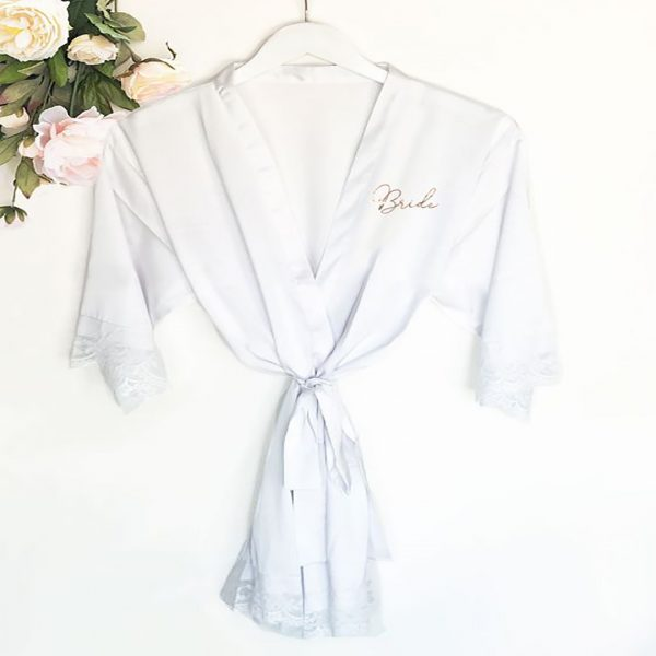 Event Blossom Personalized Satin Lace Robes - White
