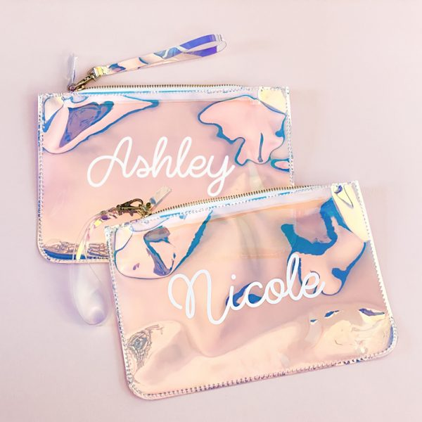 Event Blossom Personalized Holographic Cosmetic Bag