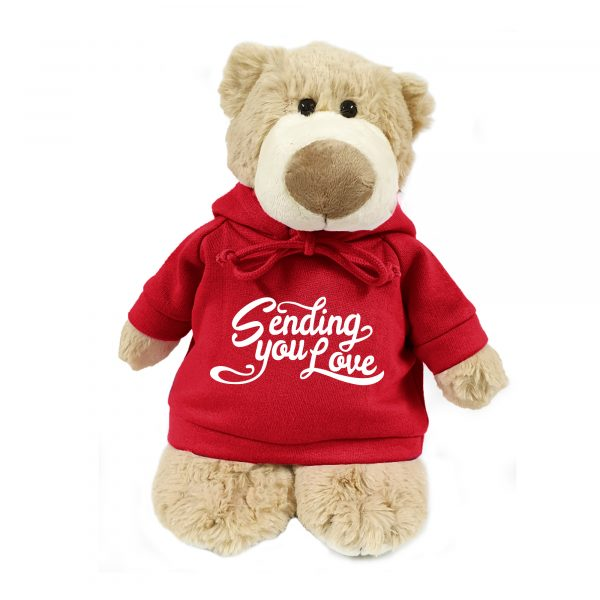 Caravaan Supersoft, cuddly mascot bear with trendy  red hoodie. Sending you Love. Size 28cm. Ideal for Birthdays, boys, girls parties. Soft and cuddly.