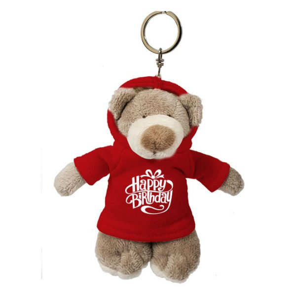 Caravaan Small, Mascot bear (12cm) with trendy red Happy Birthday Hoodie and keyring attachment