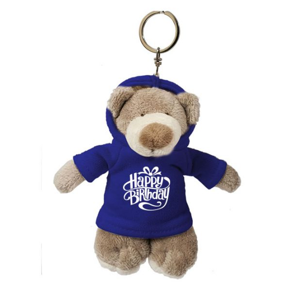 Caravaan Small, Mascot bear (12cm) with trendy blue Happy Birthday Hoodie and keyring attachment