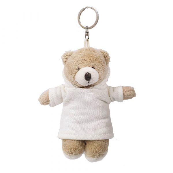 Caravaan Small, cuddly bear (12cm) white Hoodie and keyring attachment.  Ideal for Birthdays, boys, girls parties, pinyatas.