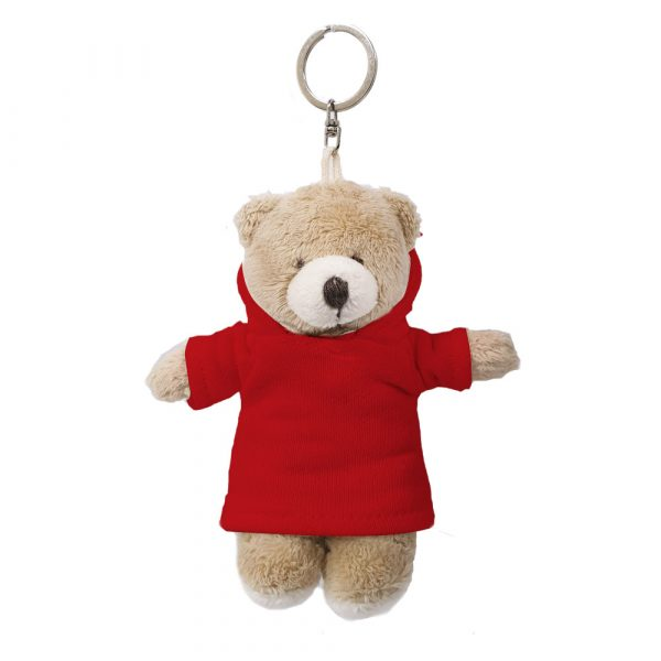 Caravaan Small, cuddly bear (12cm) red Hoodie and keyring attachment.  Ideal for Birthdays, boys, girls parties, pinyatas.