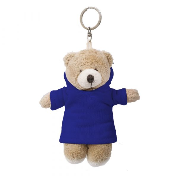 Caravaan Small, cuddly bear (12cm blue Hoodie and keyring attachment.  Ideal for Birthdays, boys, girls parties, pinyatas.