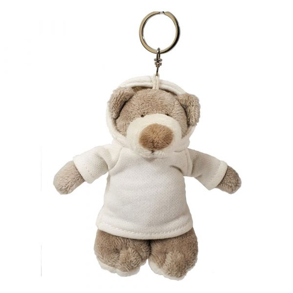Caravaan Small,  cuddly Mascot bear (12cm) with white Hoodie and keyring attachment