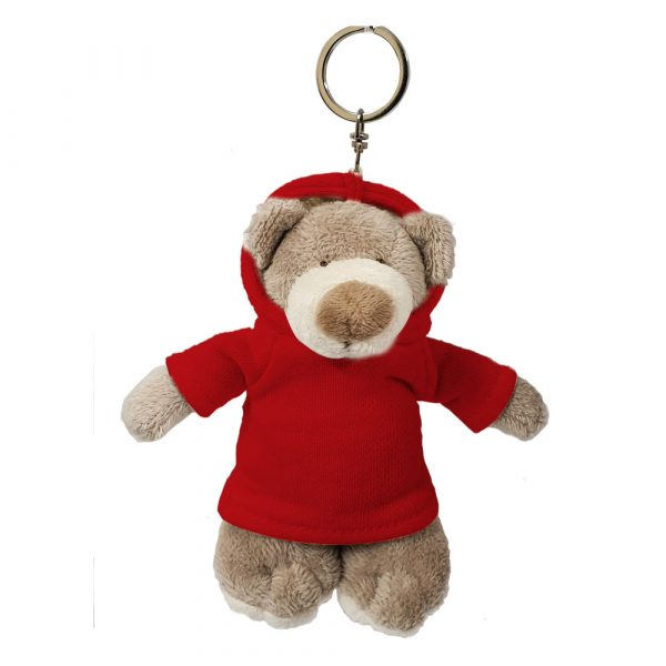 Caravaan Small cuddly Mascot bear (12cm) with red Hoodie and keyring attachment