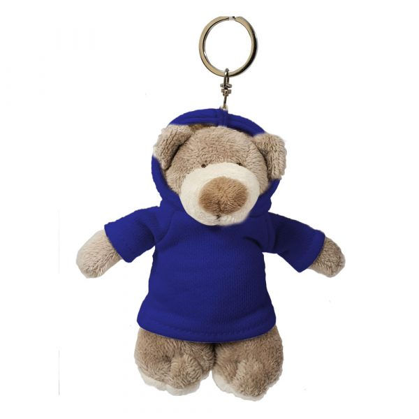 Caravaan Small, cuddly Mascot bear (12cm) with blue Hoodie and keyring attachment