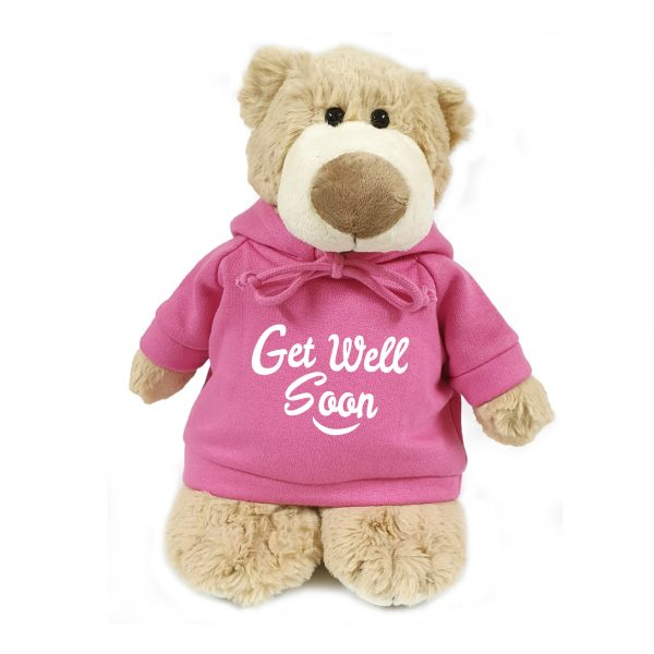 Caravaan Supersoft, cuddly mascot bear with trendy  pink hoodie. Get Well Soon. Size 28cm. Ideal for Birthdays, boys, girls parties. Soft and cuddly.