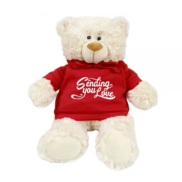 Caravaan Supersoft, cuddly cream bear with trendy  red hoodie. Sending you Love. Size 38cm. Ideal for Birthdays, boys, girls parties. Soft and cuddly.
