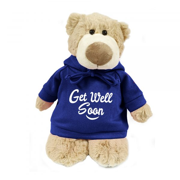 Caravaan Supersoft, cuddly mascot bear with trendy  blue hoodie. Get Well Soon. Size 28cm. Ideal for Birthdays, boys, girls parties. Soft and cuddly.