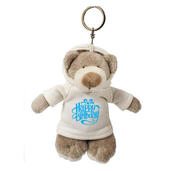 Caravaan Small, Mascot bear (12cm) with trendy  white Happy Birthday Hoodie and keyring attachment